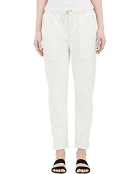 Helmut Lang Leather Accented Sweatpants White Size M