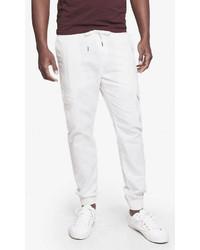 Express White Linen Cotton Cargo Jogger Pant