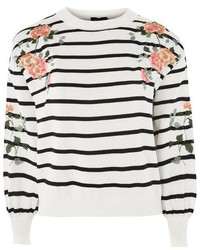Topshop Embroidered Stripe Sweatshirt