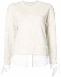 Derek Lam 10 Crosby Long Sleeve Sweatshirt With Shirting Tie Detail