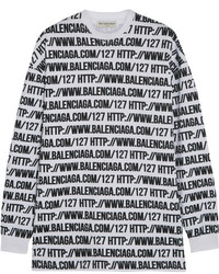 Balenciaga Oversized Printed Cotton Jersey Sweatshirt White