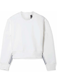 adidas by Stella McCartney Train Cropped Striped Cotton Sweatshirt White