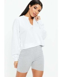 Missguided White Oversized V Front Washed Sweatshirt