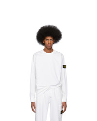 Stone Island White Relief Stitch Sweatshirt
