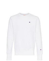 Champion White Reverse Weave Terry Cotton Sweatshirt