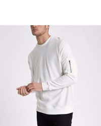 River Island White Zip Pocket Sleeve Sweatshirt
