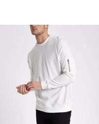 River Island White Zip Pocket Sleeve Sweatshirt