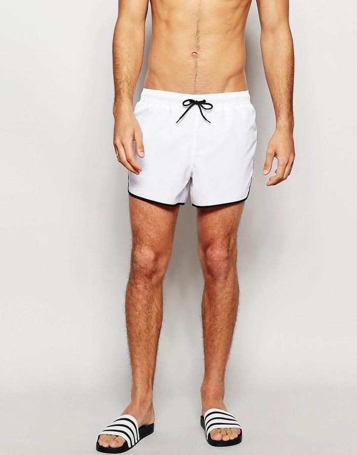 ... Asos Brand Short Length Runner Swim Shorts In White ... d06753d55