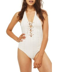 Topshop Lace Up Broderie One Piece Swimsuit