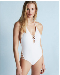 Express Lace Up Halter One Piece Swimsuit