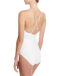 Michael Kors Michl Kors Collection Front Tie Solid One Piece Swimsuit