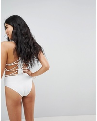 ASOS DESIGN Premium Lace Applique Strappy Back Swimsuit