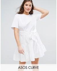 Asos Curve Curve Tiered Cotton Mini Dress
