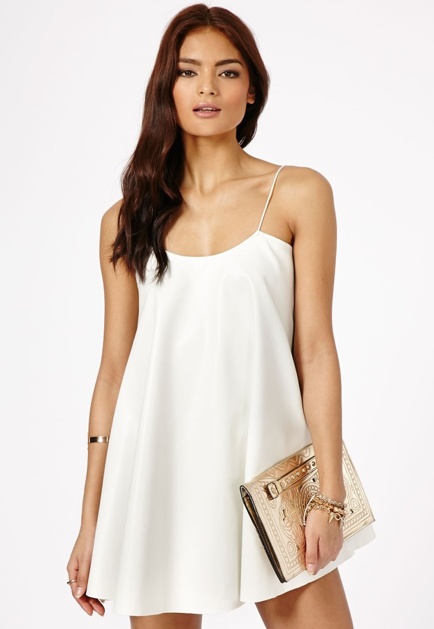 b54fba960d54f Missguided Nimesa Faux Leather Strappy Swing Dress In White, $49 ...