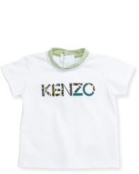 Kenzo Cotton Snap Back Logo Tee White Size 3 4