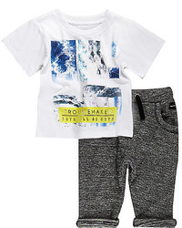 River Island Mini Boys White T Shirt Joggers Outfit