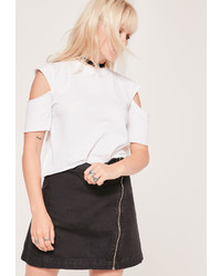 Missguided Open Sleeve Cropped T Shirt White