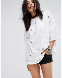 Glamorous Oversized T Shirt With Eyelets