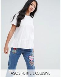 Asos Petite Petite Ruffle Hem T Shirt