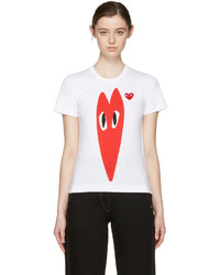 Comme des Garcons Play White Hearts T Shirt