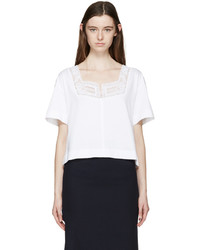 See by Chloe See By Chlo White Broderie Anglaise T Shirt