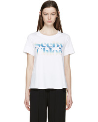 See by Chloe See By Chlo White Rainbow Logo T Shirt
