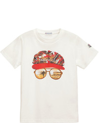 Moncler Short Sleeve Cotton Sunglasses Tee White Size 4 6