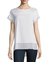 Neiman Marcus Short Sleeve High Low Tee White