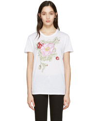Alexander McQueen White Embroidered Floral T Shirt