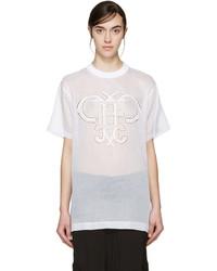 Emilio Pucci White Organza Logo T Shirt