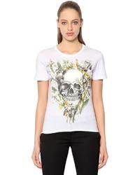 Alexander McQueen Wild Iris Skull Cotton Jersey T Shirt
