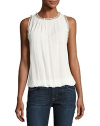 Bishop + Young Beaded Trim Crepe Tank White