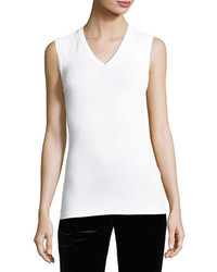 Brunello Cucinelli Cotton Monili Trim V Neck Tank