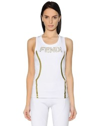 Fendi Embossed Logo Stretch Jersey Tank Top