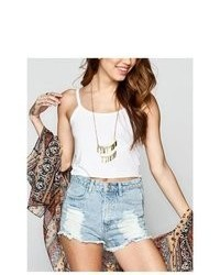 Full Tilt Scallop Strap Crop Tank