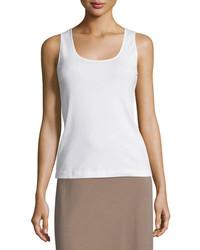 Joan Vass Soft Scoop Neck Tank White Plus Size