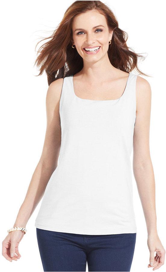 Karen Scott Shelf Bra Tank Top | Where to buy & how to wear
