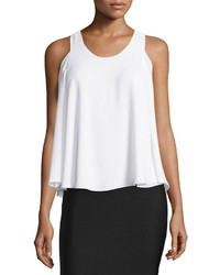 BCBGMAXAZRIA Maraiya Layered Cold Shoulder Tank White