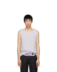 Keenkee Off White And Purple Layered Tank Top