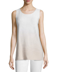 Lafayette 148 New York Round Neck Sequined Ombre Tank Soywhite