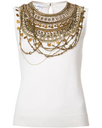 Oscar de la Renta Sleeveless Gold Chain Layer Tank Top