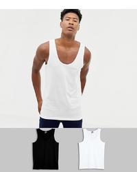 ASOS DESIGN Tall Organic Vest 2 Pack Save