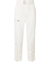 Helmut Lang Cropped Cotton Blend Twill Straight Leg Pants