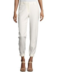 Halston Heritage Tapered Leg Double Face Pants White