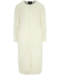 Dorothy Perkins White Collarless Midi Gloss Faux Fur Coat