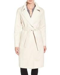 Faux shearling wrap trench coat medium 1317604