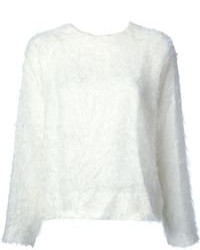 White Textured Crew-neck Sweater