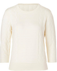 Marc by Marc Jacobs Cotton Blend Textured Knit Pullover In Antique White