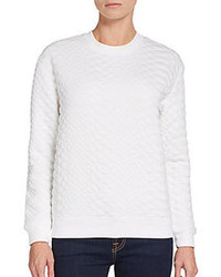 RD Style Textured Faux Leather Accented Sweatshirt