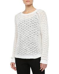 Textured crewneck sweater white medium 79499